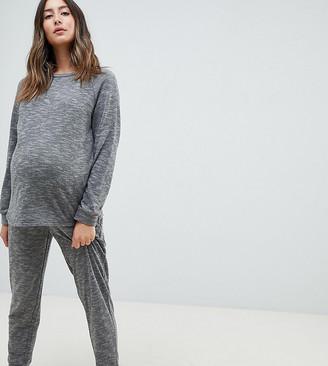 Asos DESIGN Lounge Maternity sweat and jogger set-Gray