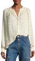Vince Floral Silk Smocked Blouse, Sheepskin