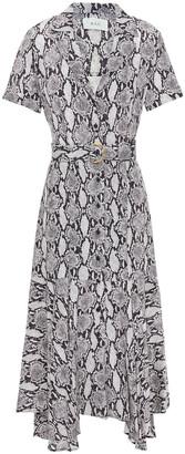 A.L.C. Belted Snake-print Silk Midi Dress