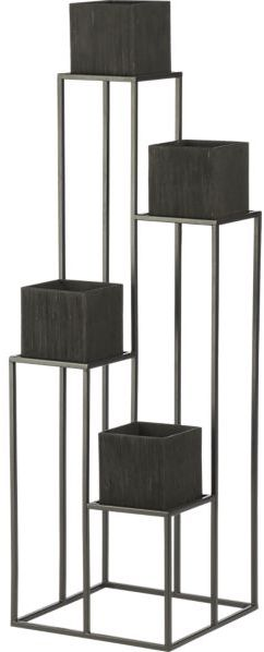 Crate & Barrel Quadrant Plant Stand with Four Planters