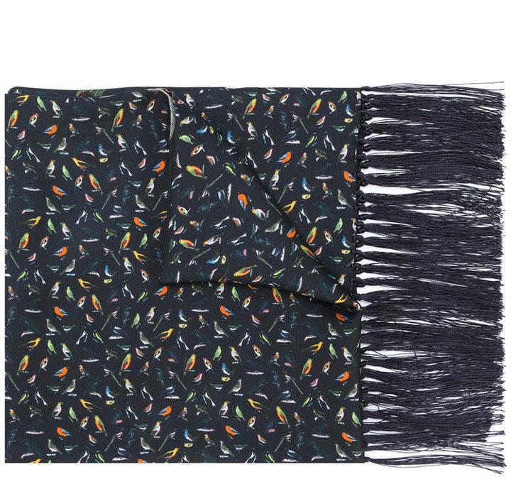 Paul Smith fringed bird print scarf