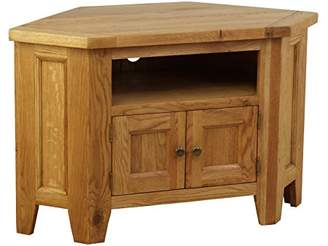 URBAN RESEARCH Hollyberry Home 90 Degree Corner TV Unit with 2 and 2 Shelves, Wood, Oak, 50 x 100 x 63 cm