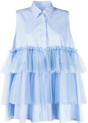 Viktor & Rolf Striped Tulle Panel Sleeveless Shirt