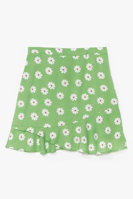 Nasty Gal Womens PLUS SIZE DAISY PRINT FLIPPY HEM MINI SKIRT - Green