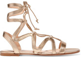 Gianvito Rossi Lace-up Metallic Leather Sandals - Gold