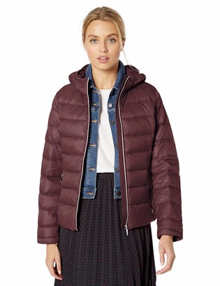 Tommy Hilfiger Women's Short Packable Down Blend Hooded Jacket
