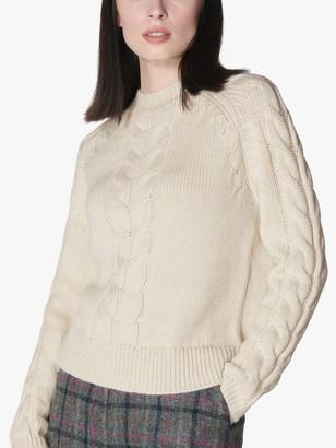 LK Bennett Susan Wool Mohair Blend Cable Knit Jumper, Antique Cream