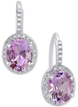Details about  /Sterling Silver 3ct Amethyst /& White Topaz X and Oval Drop Earrings