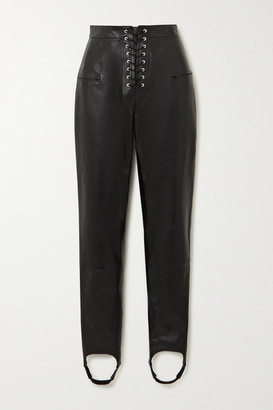 Unravel Project Lace-up Leather Skinny Stirrup Pants - Black