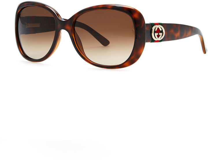 Gucci Gradient Polarized Sunglasses, Havana