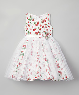White Cherry A-Line Dress - Toddler & Girls