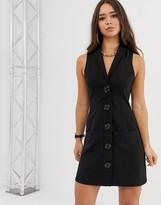 Asos Design DESIGN mini sleeveless tux dress with faux horn buttons