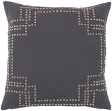 The Well Appointed House Grey Feather Down Designer Pillow with Nickel Nailhead Design