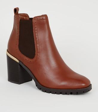 New Look Leather Brogue Chunky Heel Boots