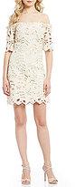 Eva Franco Emery Off-The-Shoulder Lace Shift Dress