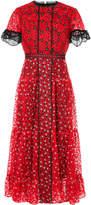 Saloni floral embroidered midi dress