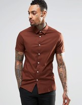 Asos Skinny Shirt In Brown With Short Sleeves