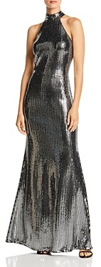 Aqua Sequin Halter Neck Gown - 100% Exclusive