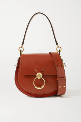 Chloé Tess Large Leather And Suede Shoulder Bag - Brick