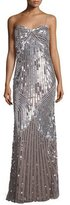 Mignon Sleeveless Sweetheart-Neck Embellished Gown, Silver