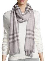 Burberry Giant Check Wool/Silk Gauze Scarf, Pale Gray