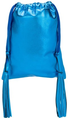 ATTICO Leather Metallic Bucket Bag