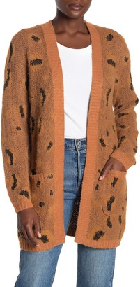 Woven Heart Animal Print Open Front Cardigan