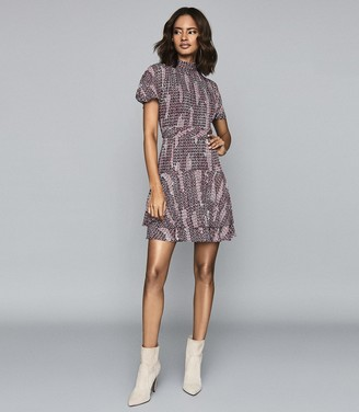Reiss NATALIE PRINTED MINI DRESS Berry