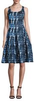 Oscar de la Renta Printed Pleated Fit And Flare Dress