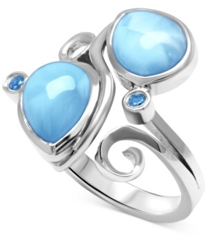 Marahlago Larimar (7 x 11mm) & Blue Spinel (1/10 ct. t.w.) Statement Ring in Sterling Silver