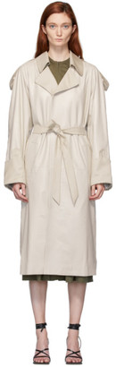 Situationist Beige Leather Trench Coat