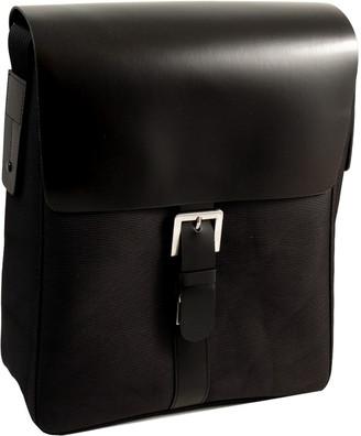 Bey-Berk Bey Berk Black Leather & Ballistic Nylon Messenger Bag