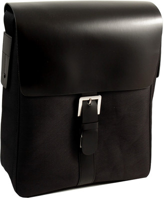 Bey-Berk Black Leather & Ballistic Nylon Messenger Bag