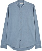 Vince Light Blue Grandad-collar Cotton Shirt