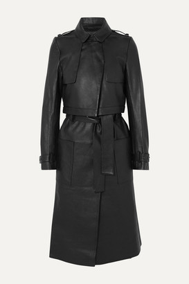 RtA Harlow Leather Trench Coat - Black