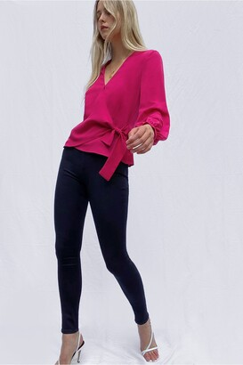 French Connection Crepe Light Long Sleeve Wrap Over Top