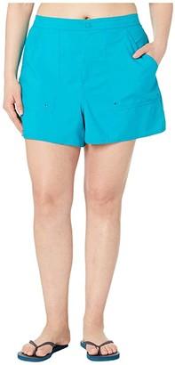 Maxine of Hollywood Swimwear Plus Size Solids Woven Boardshorts (Cobalt) Women's Swimwear