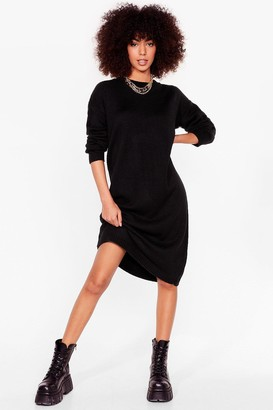 Nasty Gal Womens Warm Up to Us Knitted Midi Dress - Black - S