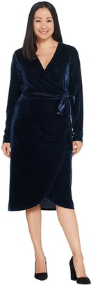 G.I.L.I. Got It Love It G.I.L.I. Stretch Velvet Faux Wrap Dress