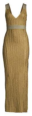 Herve Leger Women's Metallic Deep V Gown