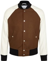 Ami Brown Wool And Leather Bomber Jacket