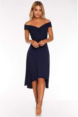 Quiz Navy Bardot Knot Front Dip Hem Dress
