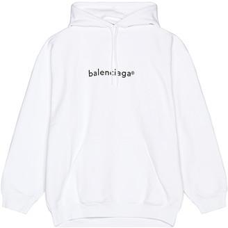 Balenciaga Medium Fit Hoodie in White & Black | FWRD