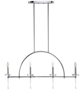 Jonathan Y Designs Doris 4-Light Linear Metal, Crystal Led Pendant