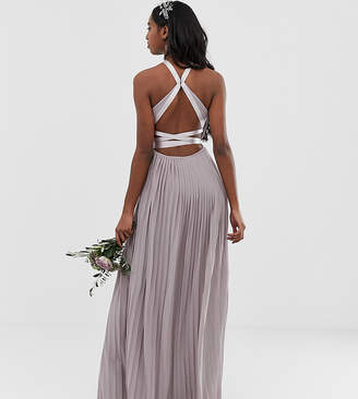 TFNC Tall Tall pleated maxi bridesmaid dress with cross back and bow detail in gray