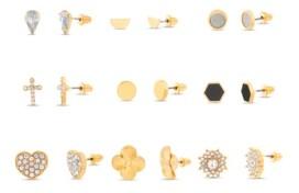Steve Madden Rhinestone Yellow Goldtone Heart 9 Piece Stud Earring Set