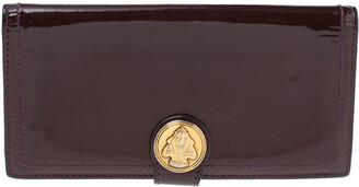 Gucci Burgundy Patent Leather Hysteria Flap Wallet