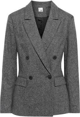 Iris & Ink Emma Double-breasted Melange Wool-blend Blazer