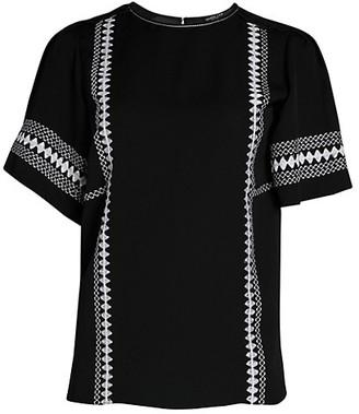 Derek Lam Embroidered Short-Sleeve Silk Blouse