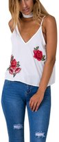 Malltop Sexy Womens Slim Sleeveless Rose Appliques Halter Cami Blouse Tank Tops (XL, )